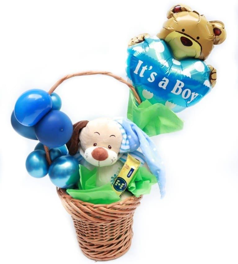 Imagen de Bebe Descripcion: Regalo para nacimiento, canasta con peluche sonajero, globos y bon o bon.